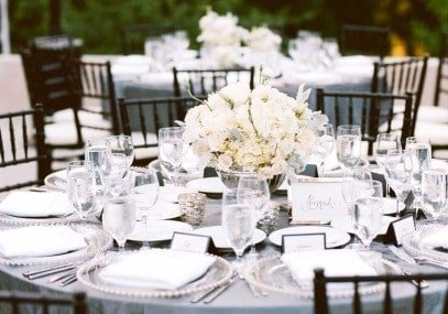 White Table Setting Rentals