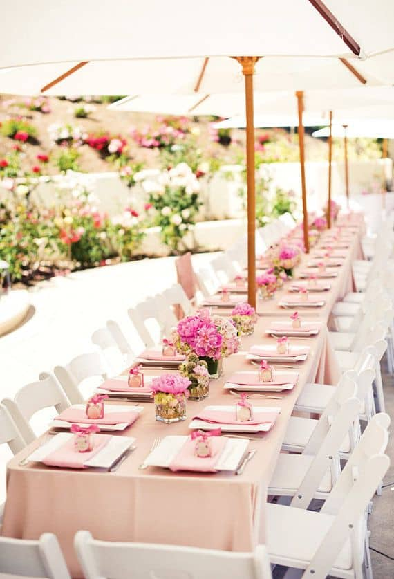 Valentines Brunch Blush Lamour Linen Whitewood folding Chair Market For Rent