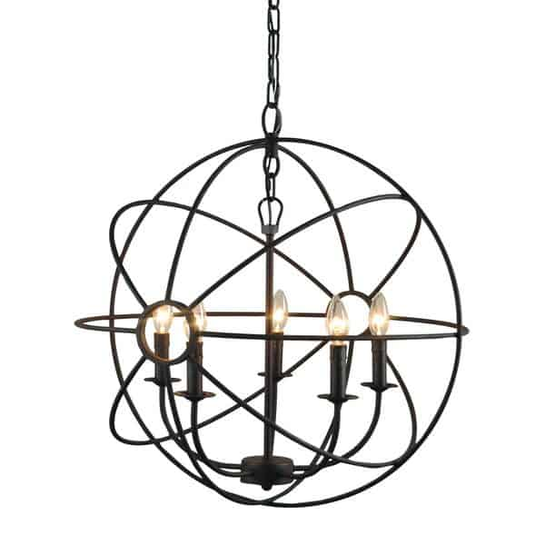 Wrought Iron Orb Chandelier For